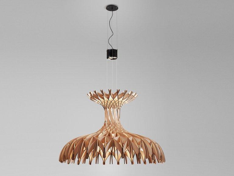 Lampada a sospensione in legno dome 180 by bover design benedetta tagliabue