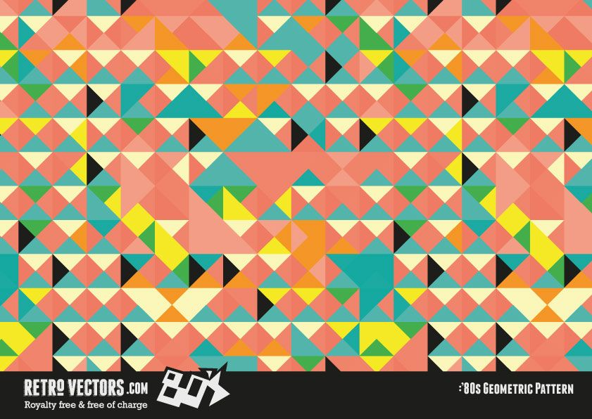 Retro '80s Geomentric Pattern | Vintage Vectors | Royalty Free
