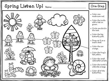 Spring Listen Up! Following Directions FREEBIE Following