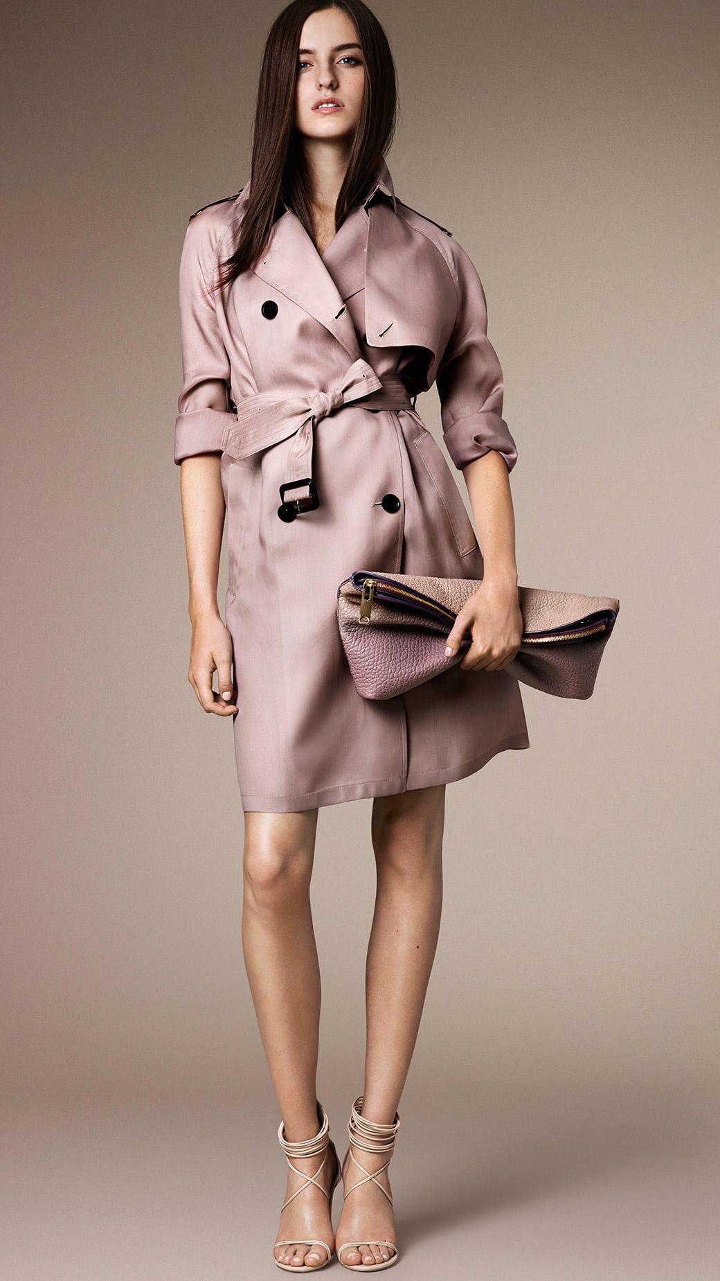 556fdfacf1c Women's Pink Long Oversize Detail Silk Trench Coat | My Personal ...
