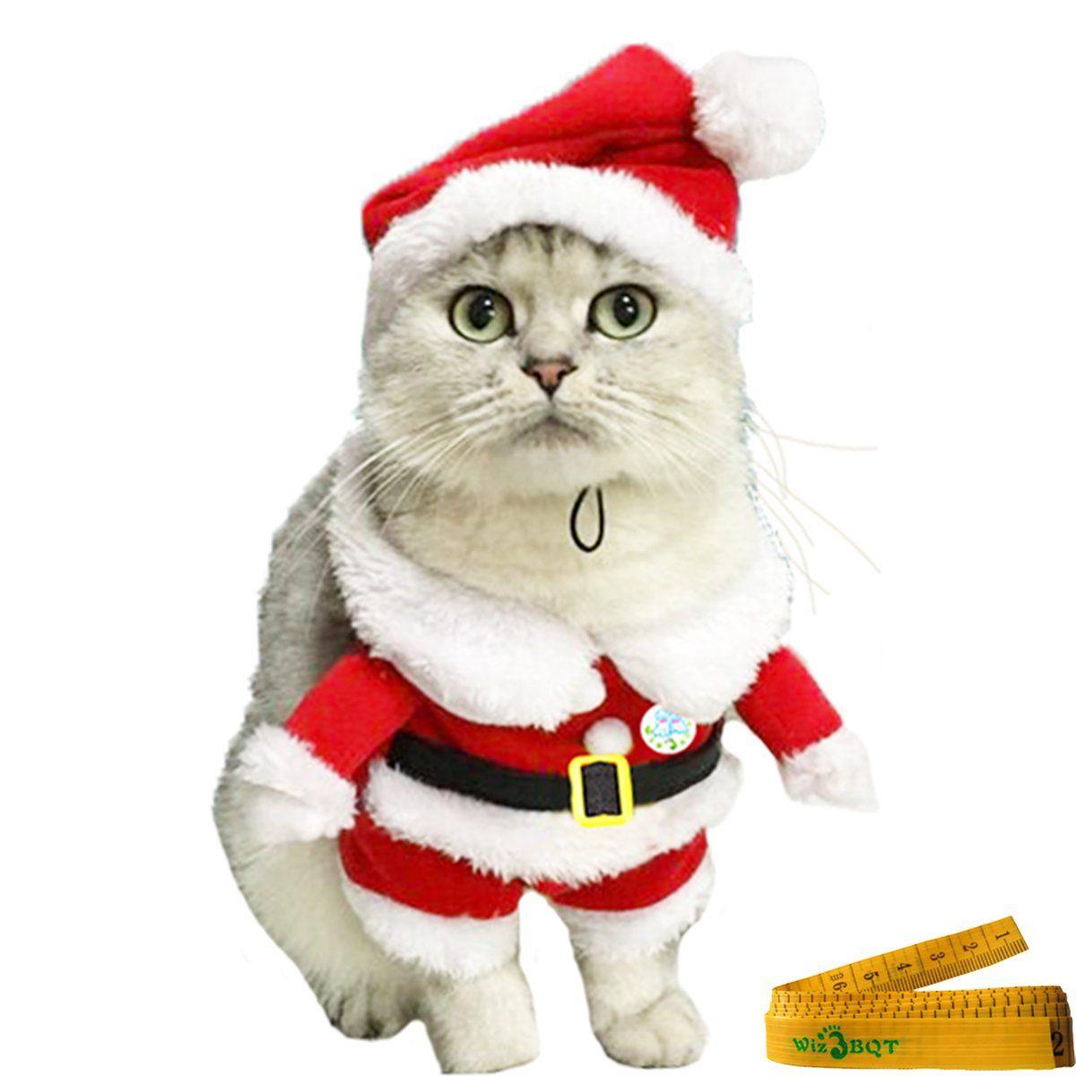 Pet Dog Cat Christmas Costume Clothes Santa Claus Suit With A Cap