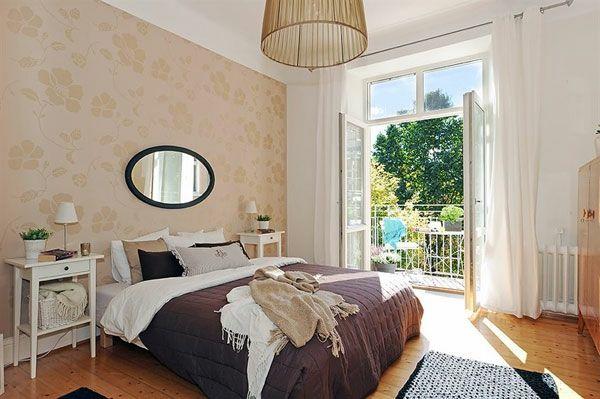 Schlafzimmer-gestalten-im-skandinavischen-Stil-interessante-Tapetten