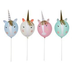 Pack of 8 balloons with 4 wands & self-adhesive decorative pieces, to make 4 unicorn characters.   		 		Pack size: 6