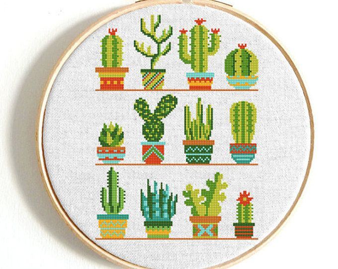 Cactus Cross Stitch Pattern Pdf By Annaxstitch Cute Etsy Cactus Cross Stitch Simple Cross Stitch Floral Cross Stitch