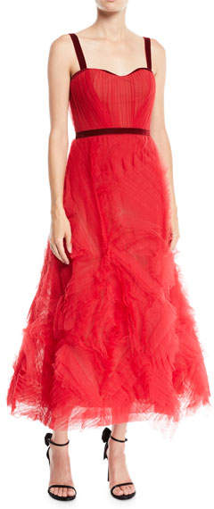 d9396fec Marchesa Notte Textured Tulle Gown w/ Corset Bodice & Velvet Trim ...