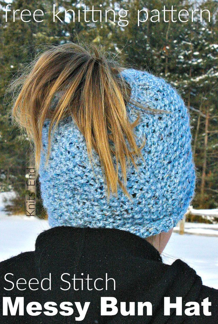 f145e1a2ef7a4 Seed Stitch Messy Bun Hat Knitting Pattern available for free ...