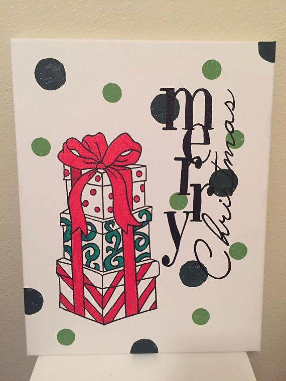 """Christmas Canvas/ Merry Christmas/ READY TO SHIP/ Christmas Gift/ 11""""x14"""""""