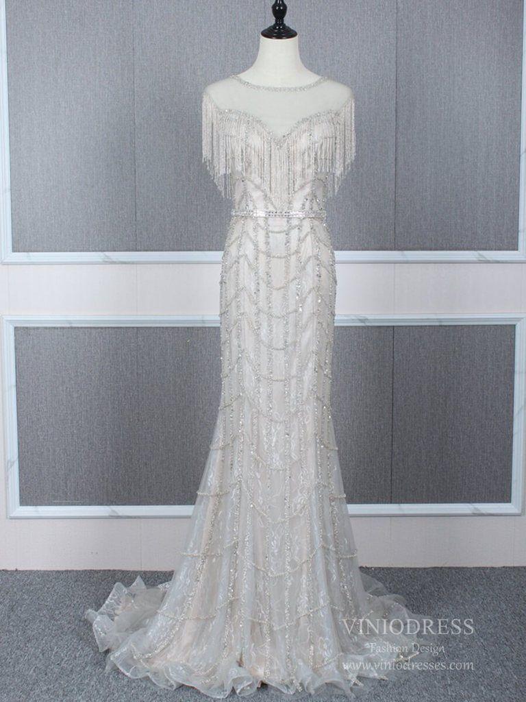 Beaded Champagne Prom Dresses Light Gold Mermaid 20s Formal Dress Fd2474 Tulle Prom Dress Evening Dresses Prom Silver Prom Dress Long [ 1024 x 768 Pixel ]