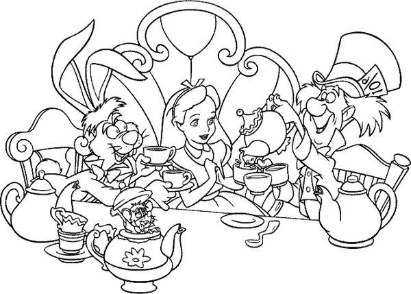 Alice In Wonderland Tea Party Coloring Page  Disney  Pinterest