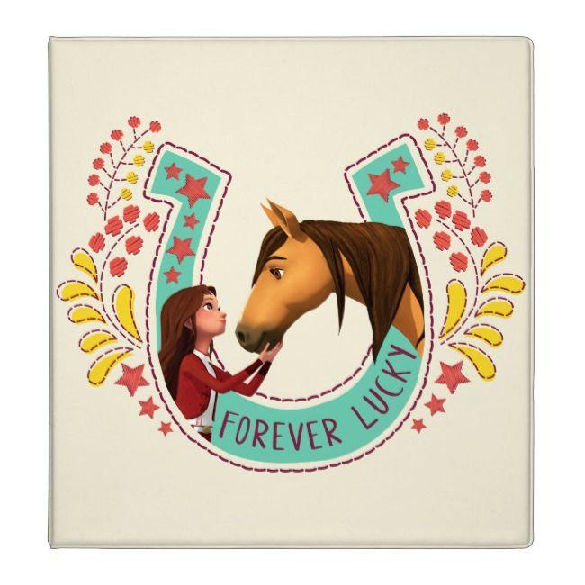 """""""forever lucky"""" lucky  spirit horseshoe graphic 3 ring"""