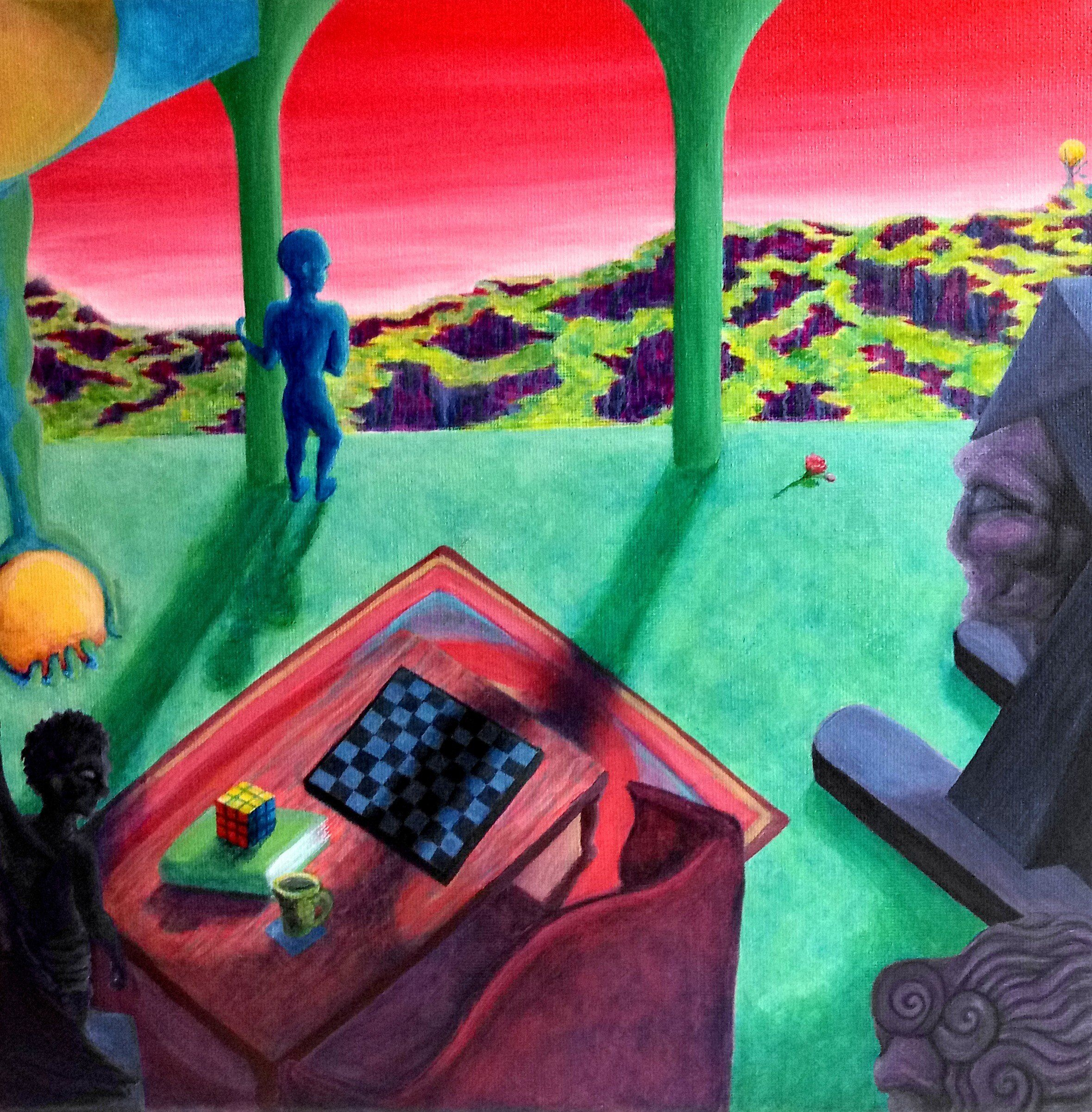 Surrealismac Reverie Original Art Solitary Sunset Art Original Art Surreal Art
