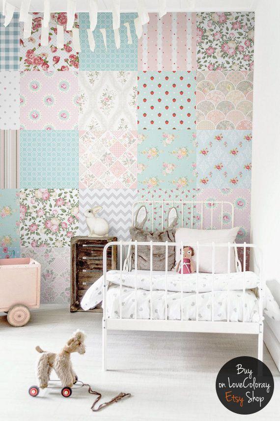 Patchwork wallpaper, Nursery removable wallpaper, Wall