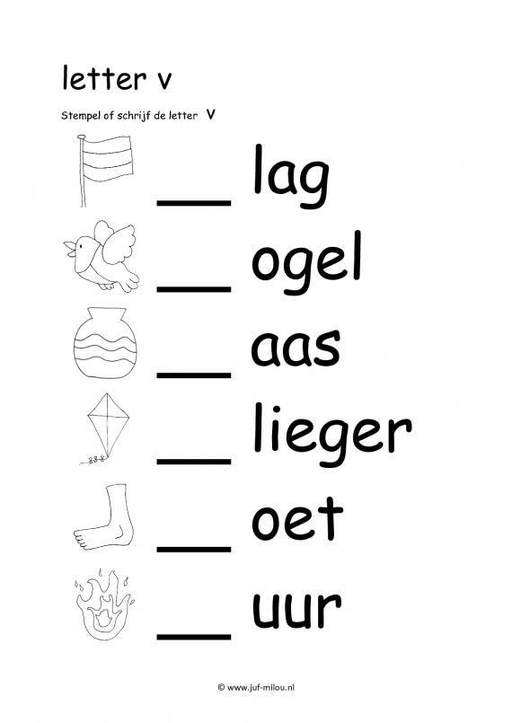 Werkbladen letter v | Ik leer lezen | Pinterest