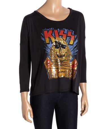 Loving this Jet Black 'KISS' Foil Top - Women on #zulily! #zulilyfinds