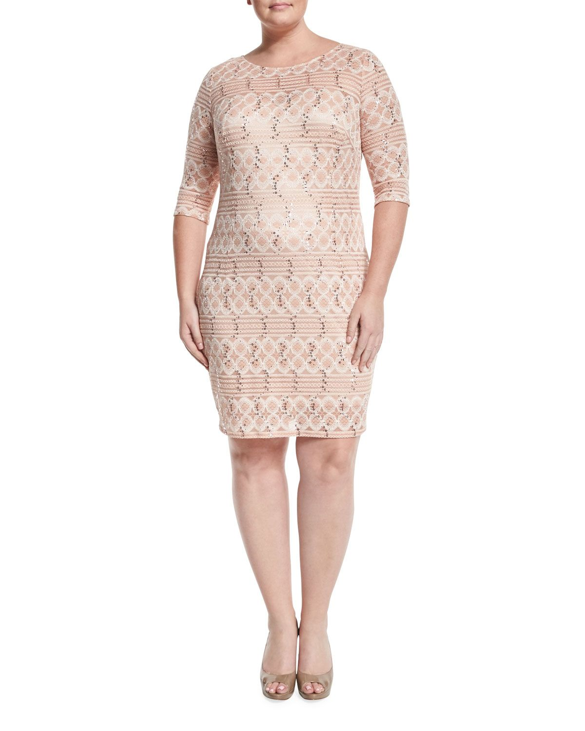 Jax 34 sleeve sequined lace sheath dress cameo rose plus size jax 34 sleeve sequined lace sheath dress cameo rose plus size ombrellifo Gallery