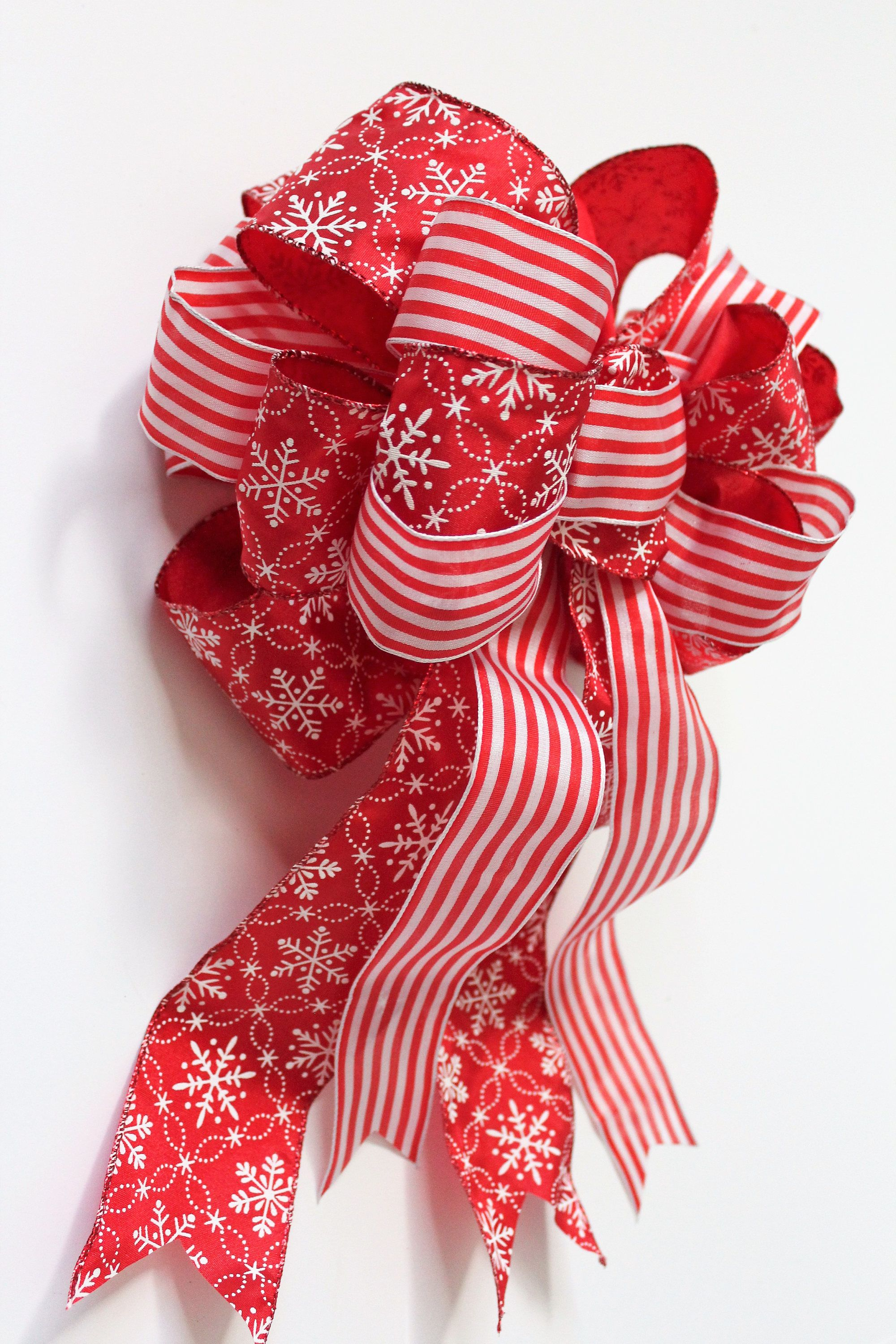 Large christmas bow red and white bow decorative bow for Christmas swags and garlands to make