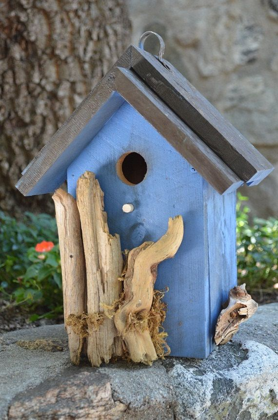 Rustic Birdhouses Blue Bird Box Functional by BirdhousesByMichele, $60.00