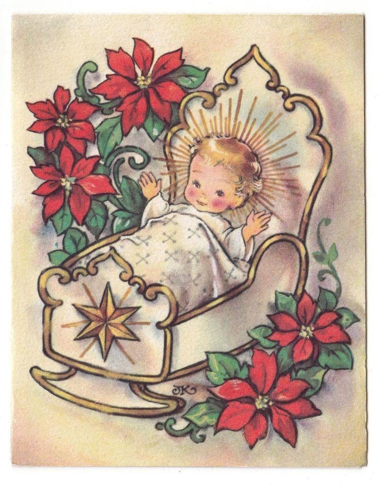 Vintage Greeting Card Christmas Crestwick Baby Jesus Artist Signed ...