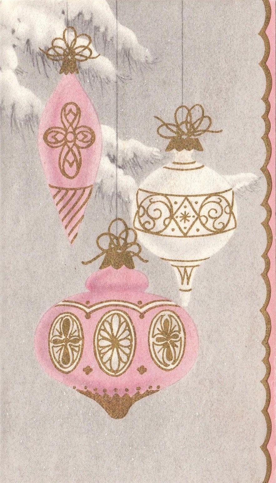 Mid-Century Modern Christmas Card. Vintage Christmas Ornaments ...