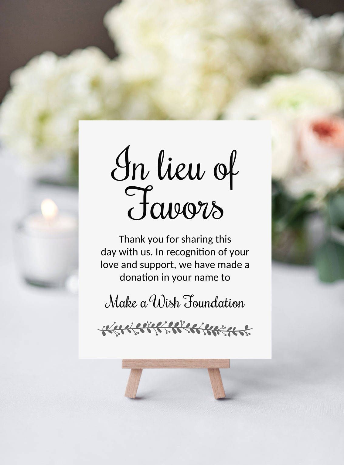 In lieu of favors sign instead of favors donate to