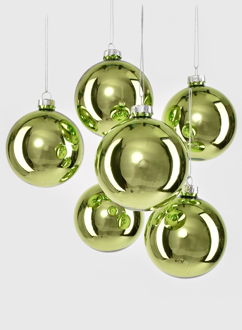 3in Lime Green Glass Ball Ornament Set Of 6 Glass Ball Ornaments Glass Ball Green Glass