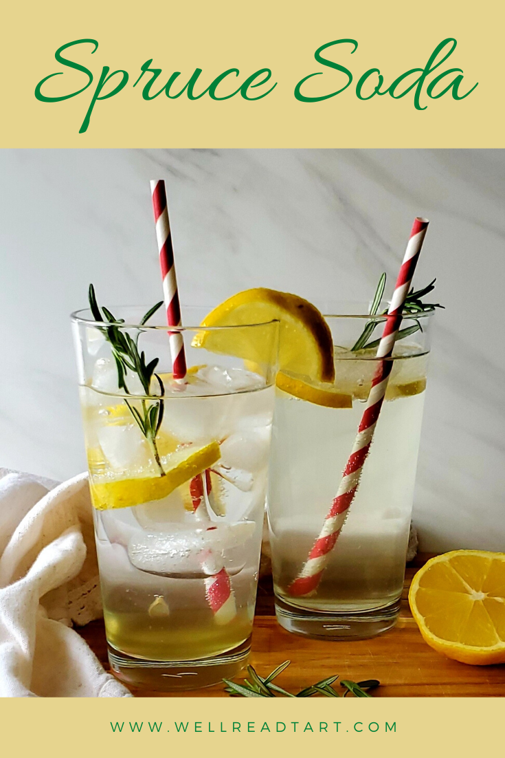 Jane Austen-inspired homemade soda with rosemary, lemon, and ginger. Just add sparkling water to a simple syrup for a refreshing drink!  #sprucesoda #sprucebeer #sprucedrink #rosemary #ginger #lemon #homemadesoda #soda #sodasteam #janeausten #janeausteneats #austen #janeite #bookinspiredrecipe #awellreadtart #drinks #nonalcoholic #noalcohol #recipes