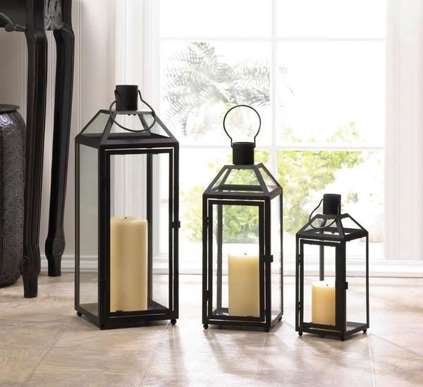 Take Your Decor To The Height Of Style With This Small Black Iron Candle  Lantern.