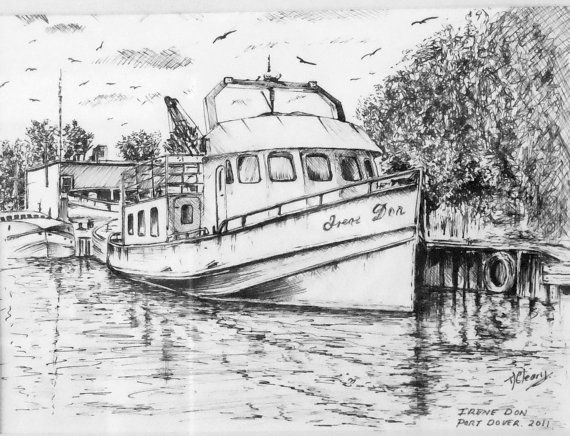 Old Fishing Boat Graphite Pencil Drawing Print From An Original Drawing By Artist T J Cleary Printed On 140lb 275gsm Paper Boat Drawing Boat Pencil Drawings
