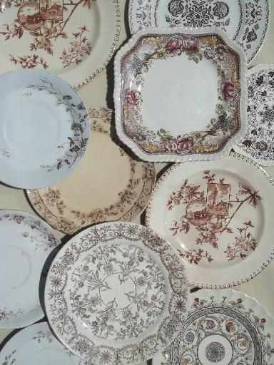 Antique Dinnerware Patterns | ... vintage brown transferware china plates lot lovely old & Antique Dinnerware Patterns | ... vintage brown transferware china ...