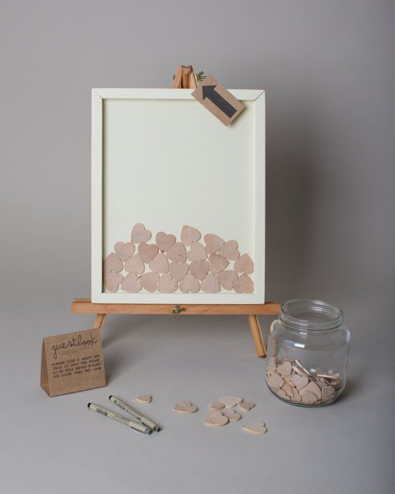 Wedding Guest Book Alternative Wooden Hearts Guestbook 11x14 Cream Painted Pine Shadowbox Frame
