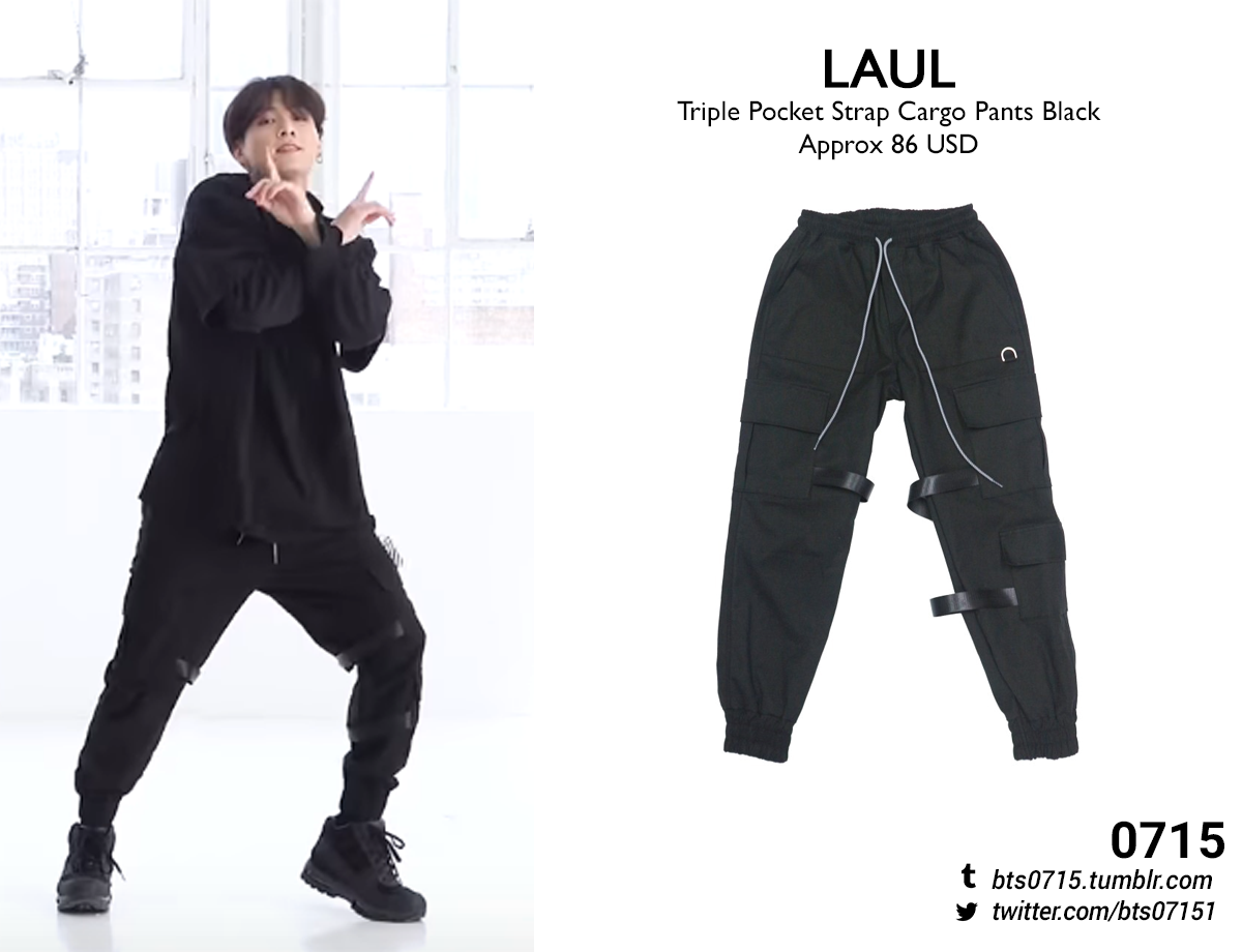 Requested 190421 Jungkook Boy With Luv Dance Practice Laul Triple Pocket Strap Cargo Pants Black Practice Outfits Dance Outfits Practice Bts Clothing
