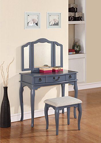 Poundex Bobkona Susana Tri Fold Mirror Vanity Table With Stool Set, Gray  Http: