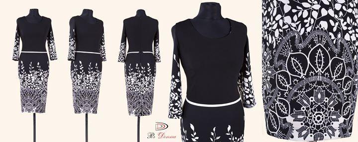 >>> MODEL NOU <<< Rochie eleganta cu imprimeu floral alb negru. Masuri: 40-42-44-46.  Mai multe detalii pe site-ul Per Donna: http://ift.tt/1OyH86E #sepoartaperdonna #colectiatoamna2015 www.perdonna.ro