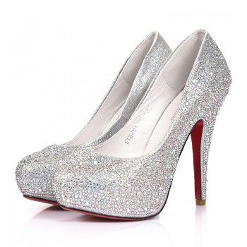 Silver Celebrities Love Super High Heels Sparkle Prom Shoes ...
