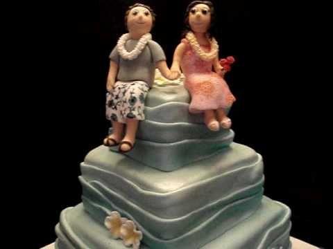 Hawaii themed Fondant Wedding Cake - my second wedding cake ever !