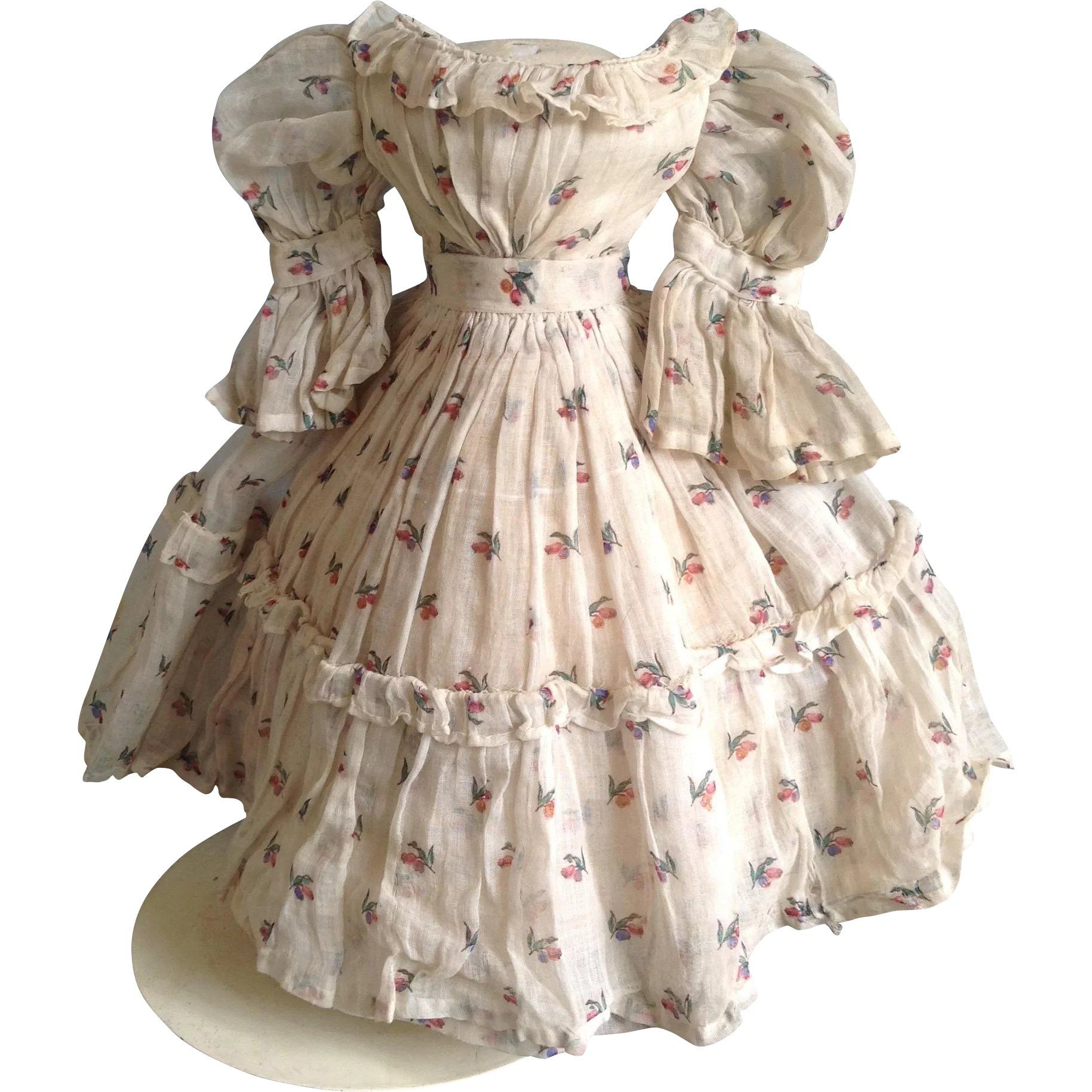 Original 1860s lawn Dress in Enfantine Style for Early Fashion is part of lawn Dress Victorian - This is a really fabulous original 1860s lawn dress with delicate flower decoration in typical Enfantine style  The dress is beautifully constructed and entirely hand sewn  The bodice is lined with a