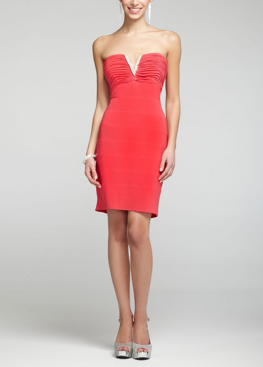 stunning cherry redhot sale strapless jersey dress with