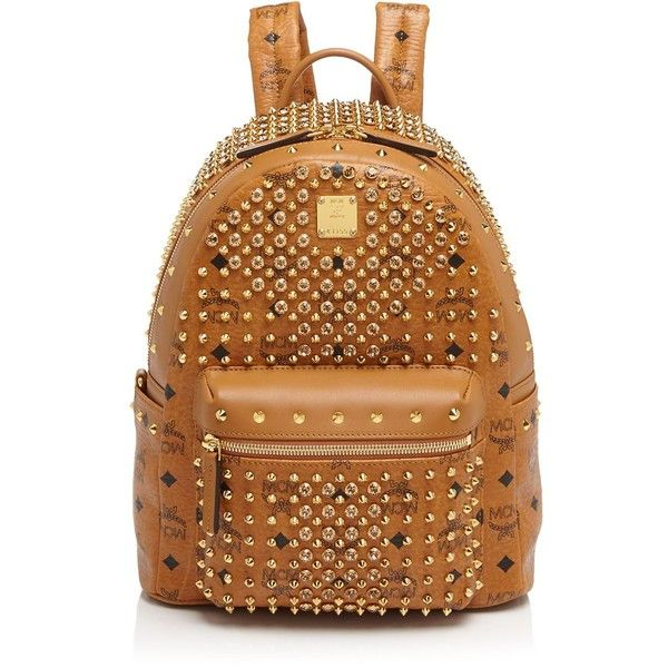 Mcm Backpack - Diamond Visetos Small (8.705 BRL) ❤ liked on Polyvore featuring bags, backpacks, studded bag, mcm backpack, brown backpack, diamond backpack and diamond bag