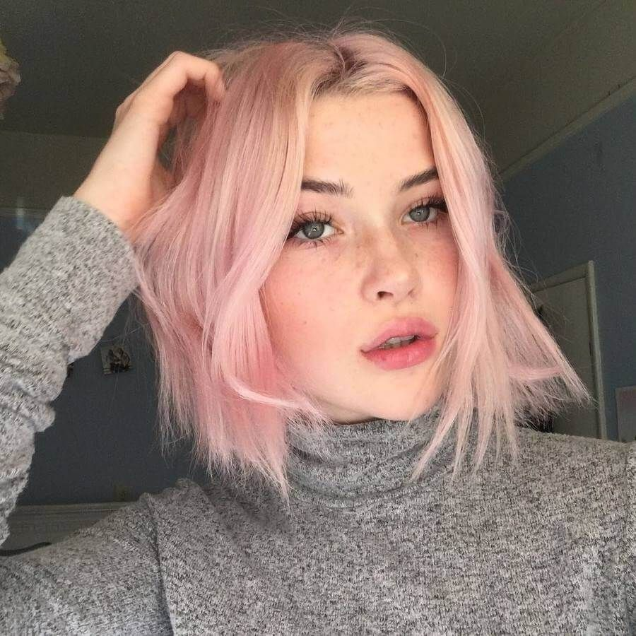 Light Pink Shades Like This Look Amazing On Cool Skin Tones Short Hair Styles Pink Short Hair Hair Styles