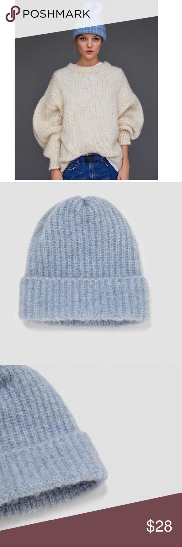 Zara Blue Beanie Hat Blue Beanie Hat Blue Beanie Zara