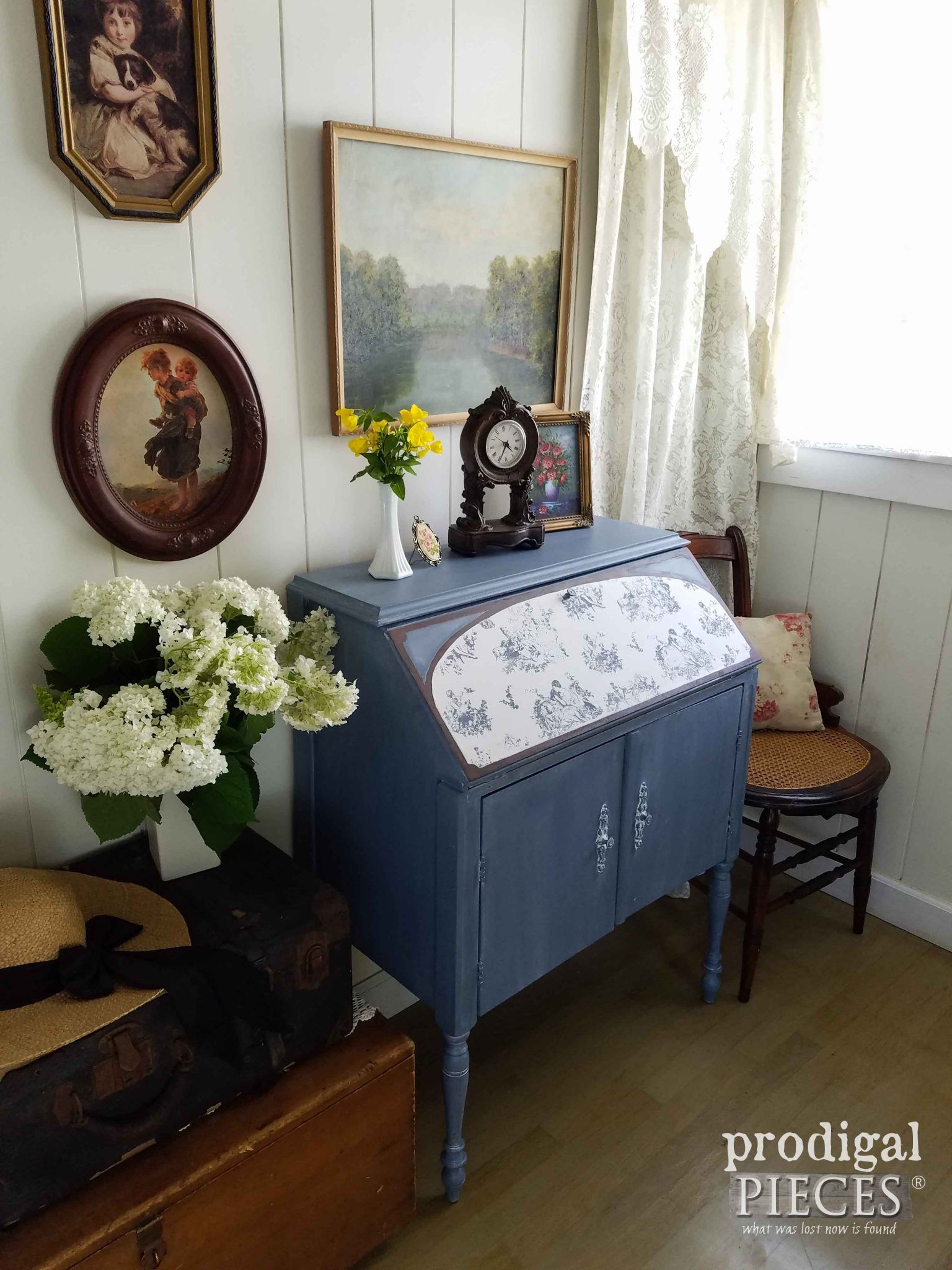 cottage style blue secretary desk with toile inlay by prodigal pieces prodigalpieces com