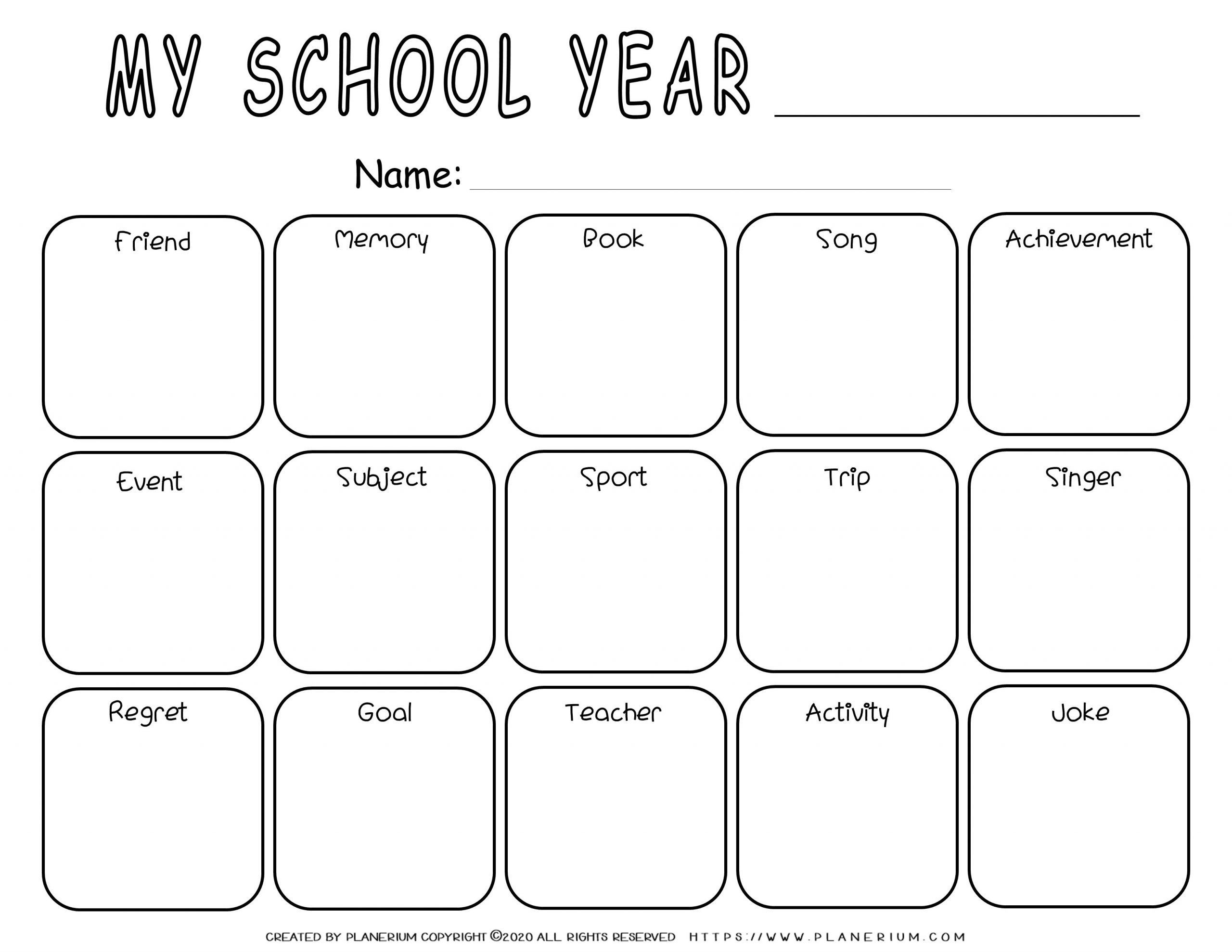 End Of Year Reflection Grid In