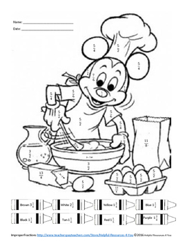 Improper Fractions To Mixed Numbers Coloring Sheet Improper Fractions Fractions Mixed Numbers