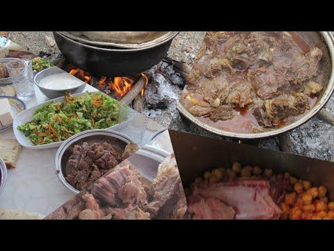 Photo of Boned meat chickpea recipe and lunch in wood fire …