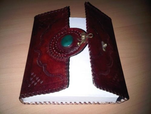 Vintage Ornamental handmade leather bound blank journal antique lock with stone
