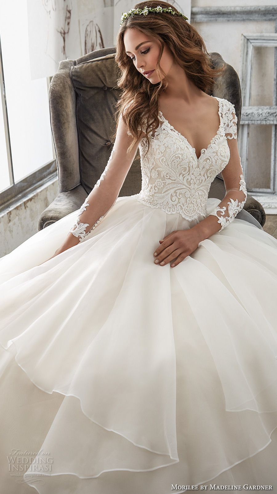 morilee spring 2017 bridal three quarter sleeves sweetheart neckline  heavily embellished bodice layer skirt princess ball gown a line wedding  dress sheer ... 1907c8f56bf4