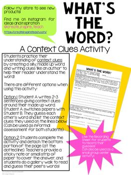 What's the Word? - Context Clues Activity FREEBIE | Reading