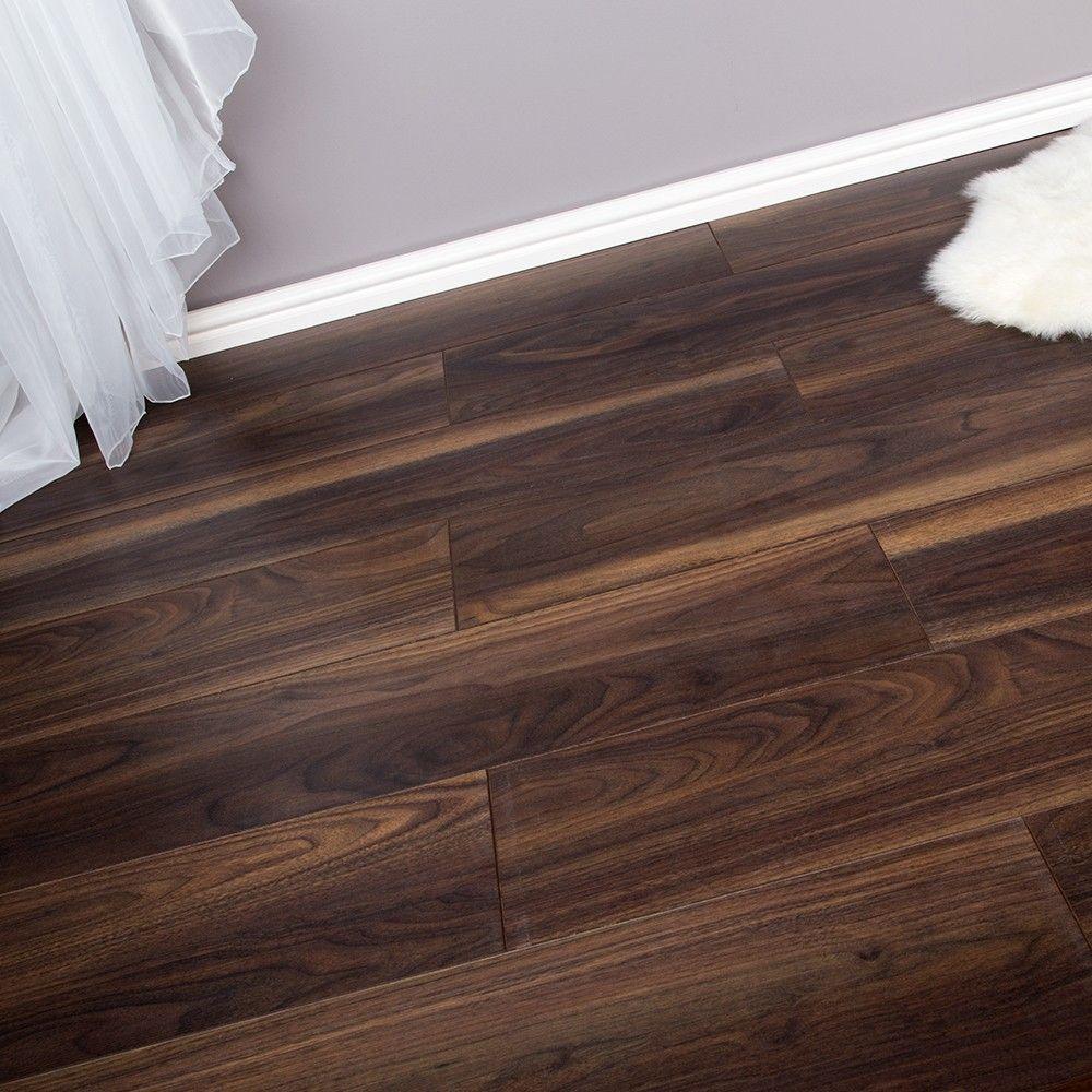 8mm Ac4 V Groove Laminate Flooring, Walnut Oak Laminate Flooring