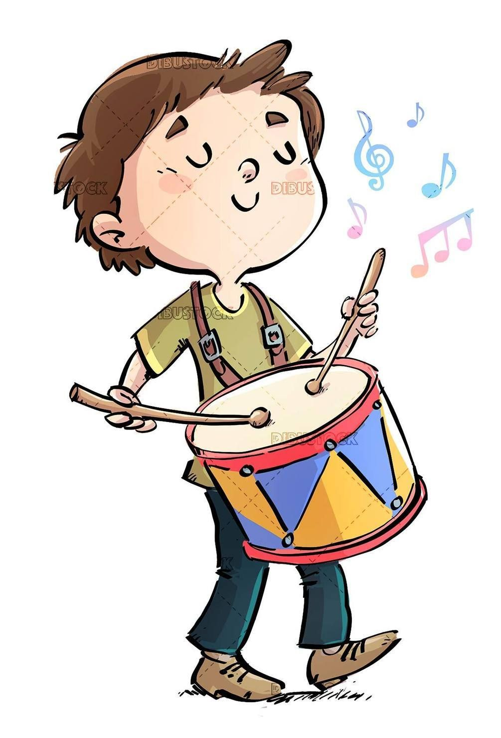 Happy Boy Playing The Drum While Walking Drums Cartoon Music Illustration Boys Playing