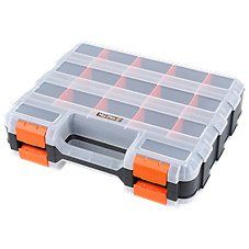 Keep your fishing tackle or small firearm parts organized and easy to find with the Tactix\u00ae 15 Compartment Double-Sided Organizer. 15 individual compartments with removable dividers ensure you have plenty of storage space without having to sift through a single large container to find a specific part. Constructed of durable molded plastics, this tool and part organizer features transparent dividers for maximum visibility, and a finger-grip pull tab for easy opening. 8